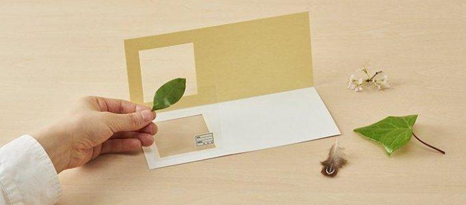 גלויה עם מזכרת חלון שקוף